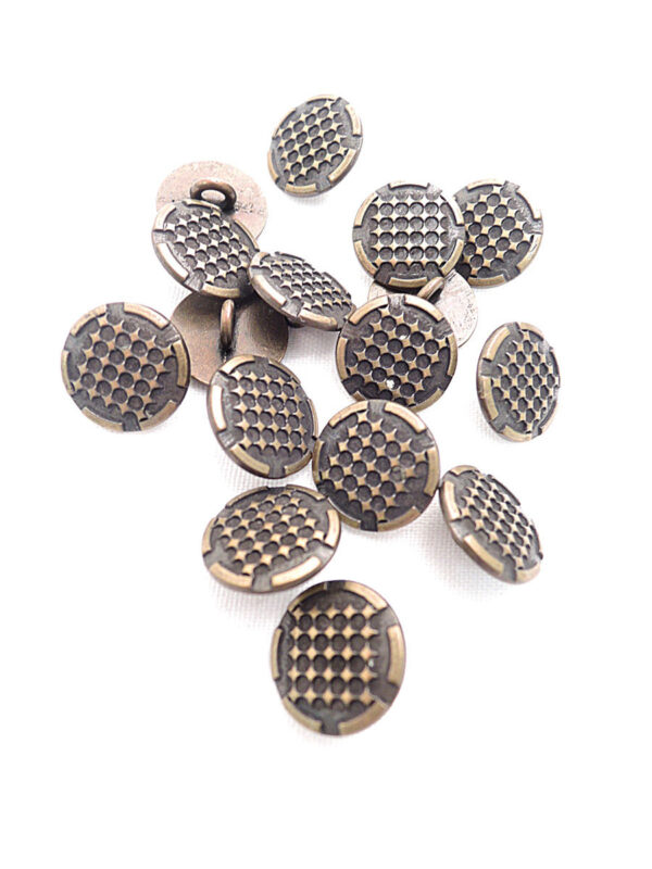 Пуговица металл бронза мелкие ромбики (p0266) к14н - Фото 8