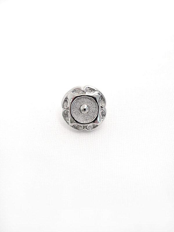 Пуговица металл серебро цветок (p0270)  к2 - Фото 6