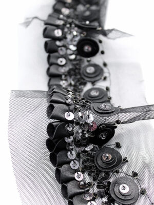 Тесьма черная кожаная с бисером и пайетками (t0275) К-14 - Фото 13
