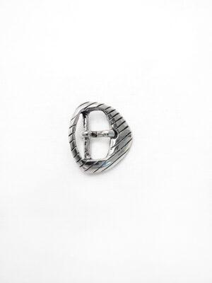 Пряжка металл серебро маленькая типа треугольника резьба полоски (p0284) - Фото 7