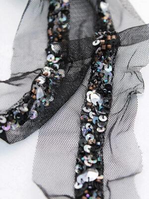 Тесьма с вышивкой пайетками и бисером на черной сетке (t0287) К-14 - Фото 13