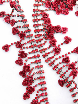 Тесьма металл серебро красные розочки с хрусталем (t0296) К-14 - Фото 13