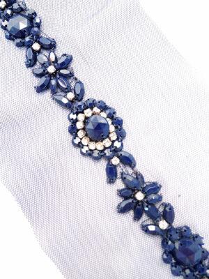 Аппликация пришивная синяя со стразами и бисером на сетке (t0298) К-броши и декоры2 - Фото 21