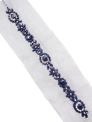 Аппликация пришивная синяя со стразами и бисером на сетке (t0298) К-броши и декоры2 - Фото 20
