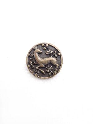 Пуговица металл бронза круглая на ножке рисунок олень (p0316) - Фото 12