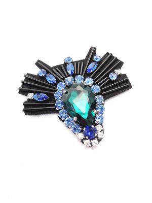 Аппликация черная с синим хрусталем и изумрудным кристаллом (t0348) К-броши и декоры2 - Фото 12