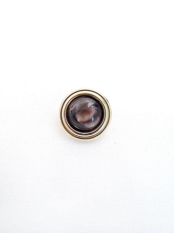 Пуговица пластик круглая на ножке коричневый камень в золотой оправе (p0358) - Фото 6