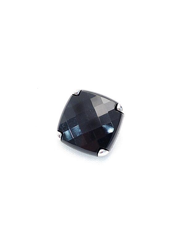 Пуговица сталь граненая квадратная на ножке черная в металлической оправе (p0361) - Фото 6