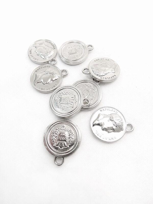 Подвеска металл серебро круглая плоская Наполеон герб (p0369) - Фото 7