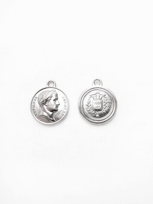 Подвеска металл серебро круглая плоская Наполеон герб (p0369) - Фото 6