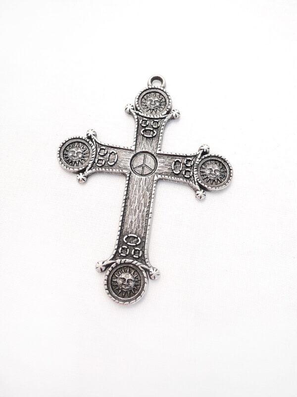 Крест подвесной металл старое серебро солнце знак пацифик в центре (p0374) - Фото 6