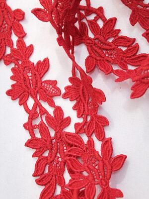 Тесьма макраме красная с цветами (t0393) к-7 - Фото 11