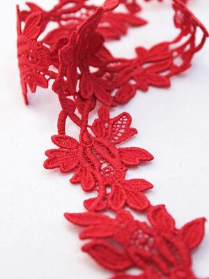 Тесьма макраме красная с цветами (t0393) к-7 - Фото 10