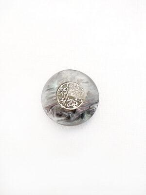 Пуговица пластик на ножке серый перламутр с разводами золотой узор в центре (p0400) - Фото 14