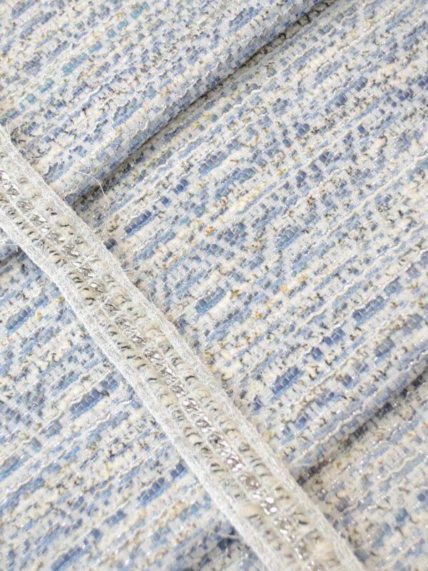Тесьма твидовая белая с серым и серебристой цепью (t0409, 0562) к-14 - Фото 10