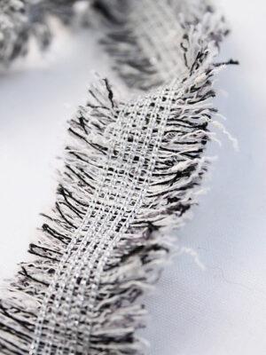 Тесьма черная с белым меланж бахрома (t0412) к-8 - Фото 14