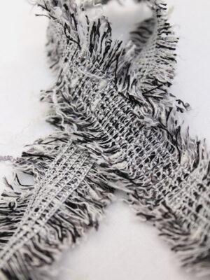 Тесьма черная с белым меланж бахрома (t0412) к-8 - Фото 13