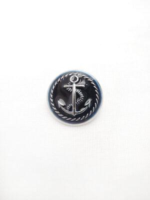Пуговица металл эмаль круглая плоская на ножке с рисунком темно-синий якорь (p0417) - Фото 10