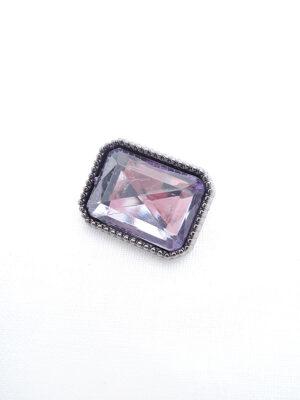 Пуговица металл прямоугольная на ножке темное серебро фиолетовый кристалл (p0422) - Фото 11