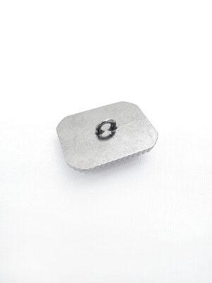 Пуговица металл прямоугольная на ножке темное серебро фиолетовый кристалл (p0422) - Фото 12