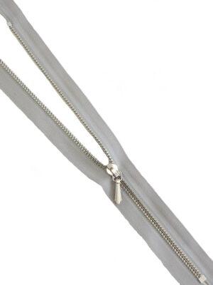 Молния 18см неразъемная один бегунок металл м3 серебро на хлопковой тесьме серая Riri (M0428) - Фото 11