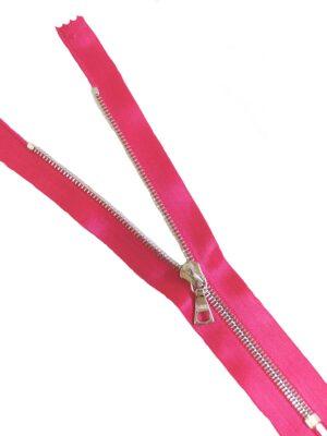 Молния 16см неразъемная один бегунок металл м4 серебро на атласной тесьме фуксия ярко-розовый Riri (M0437) - Фото 11