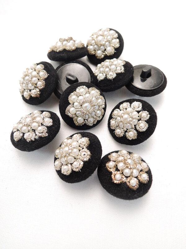 Пуговица пластик обтянутая черным велюром бисер серебряная нить (p0441) - Фото 8