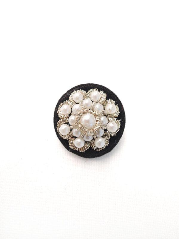 Пуговица пластик обтянутая черным велюром бисер серебряная нить (p0441) - Фото 6