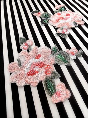 Аппликация розовый цветок вышивка бисер (t0447) А-1 - Фото 13