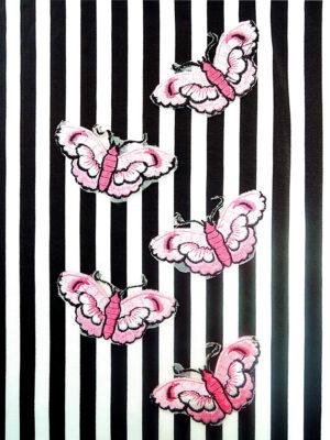 Аппликация с вышивкой розовая бабочка (t0452) А-2 - Фото 22