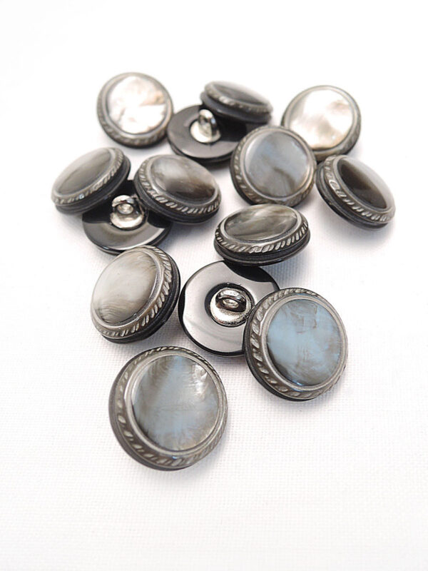 Пуговица пластик на металлической ножке круглая серо-коричневый перламутр (p0471) - Фото 8
