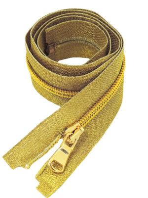 Молния 80см разъемная один бегунок металл м5 золото на хлопковой тесьме люрекс золотая Lampo (M0475) - Фото 11