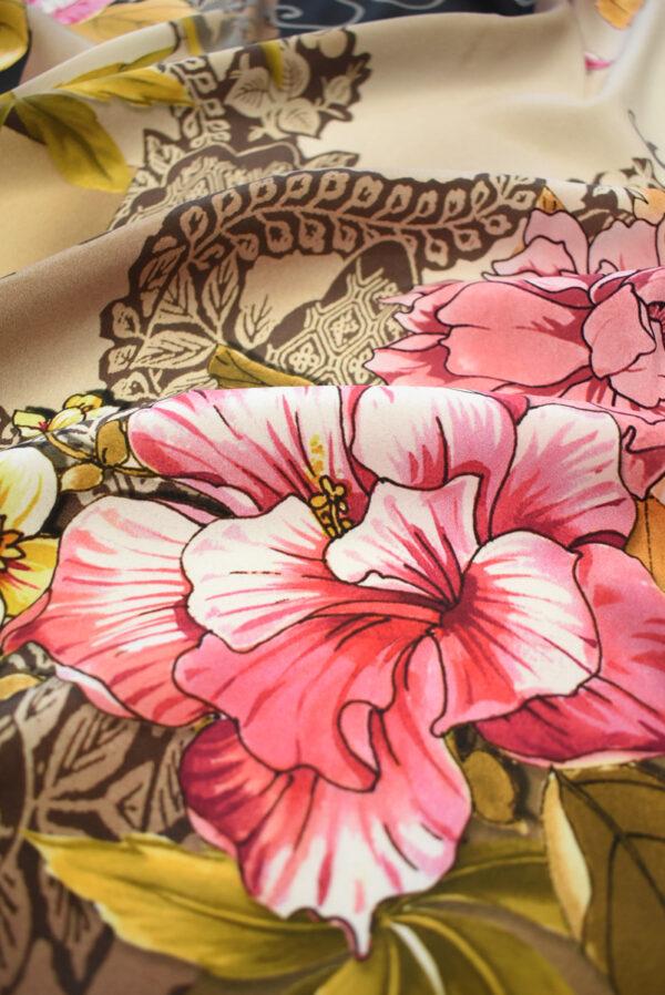 Крепдешин стрейч розовые пионы (0487) - Фото 10