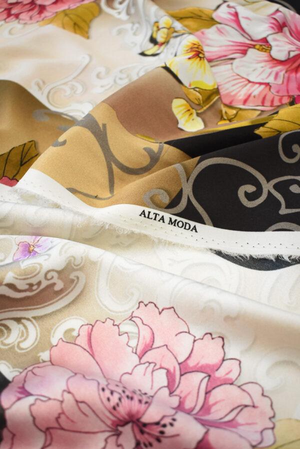 Крепдешин стрейч розовые пионы (0487) - Фото 8