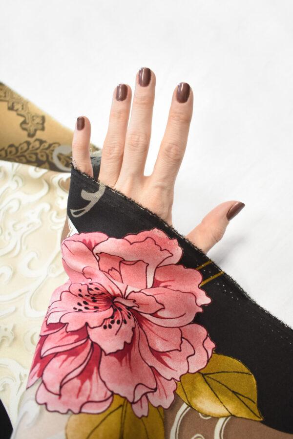 Крепдешин стрейч розовые пионы (0487) - Фото 11