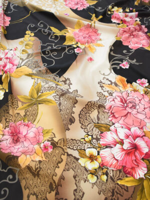 Крепдешин стрейч розовые пионы (0487) - Фото 19