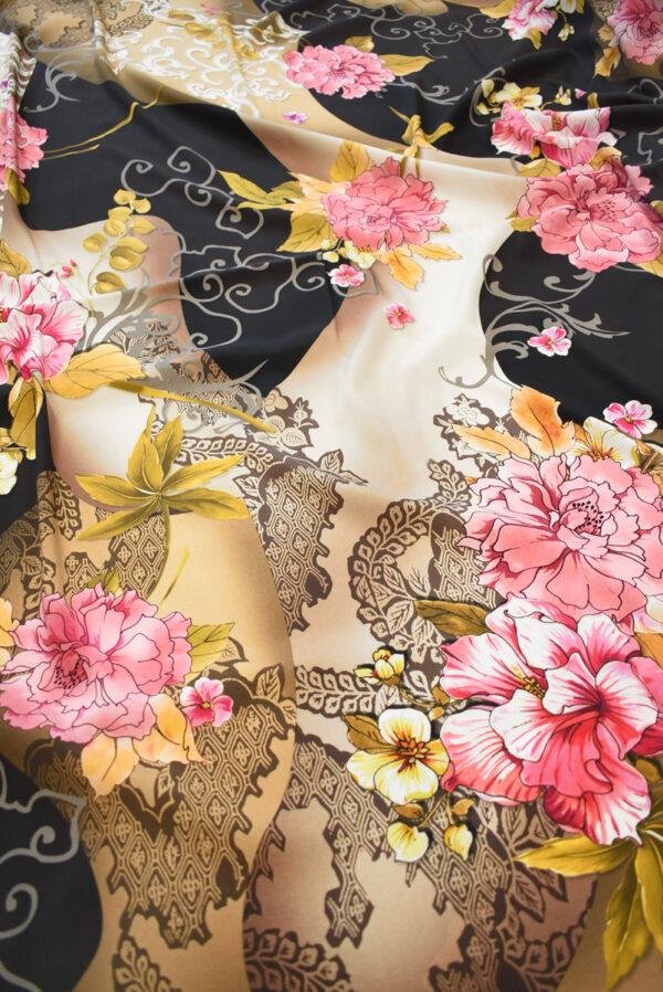 Крепдешин стрейч розовые пионы (0487) - Фото 6