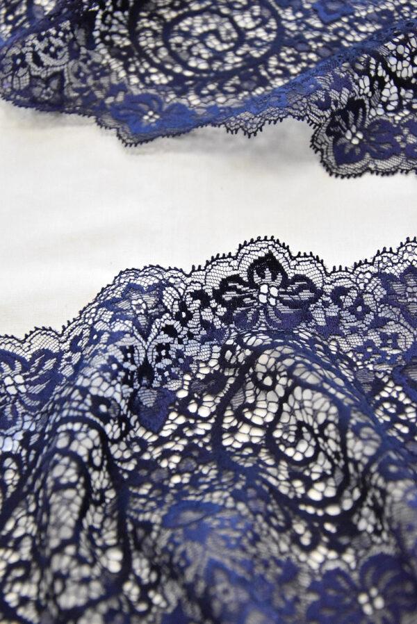 Кружево стрейч темно-синее с фестонами (t0493) к-23 - Фото 7