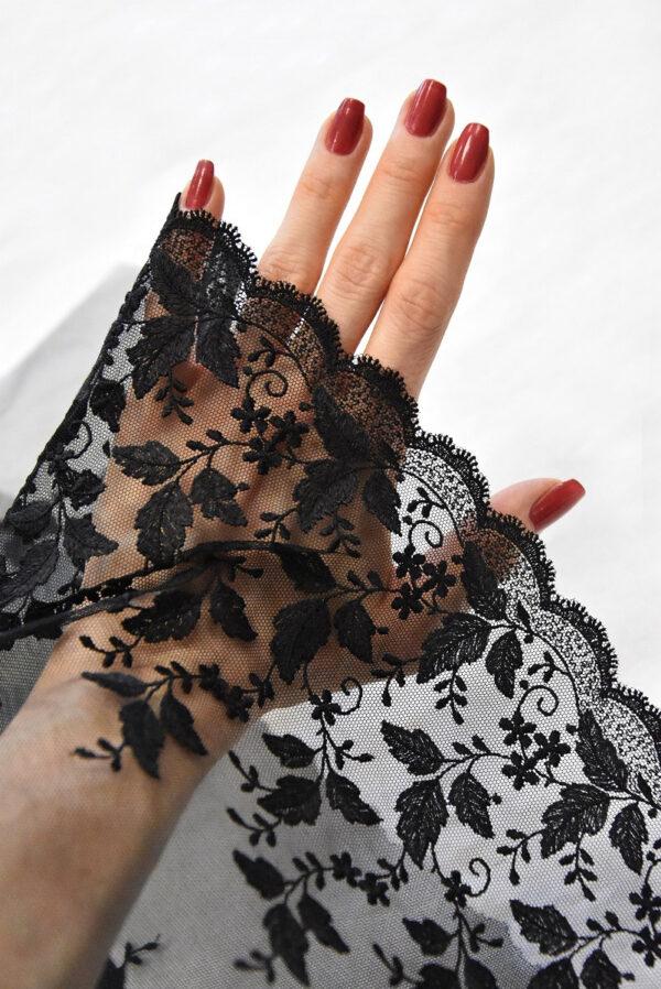 Кружево отделочное черное с цветочным фестоном (t0495) к-20 - Фото 7
