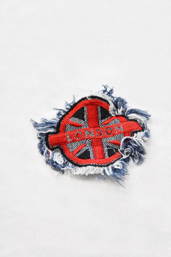Аппликация джинсовая круглая с надписью London (t0513) А-2 - Фото 6