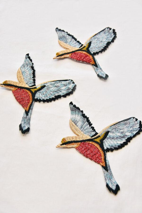 Термоаппликация птица голубая с красным и серебряной нитью (t0516) - Фото 7