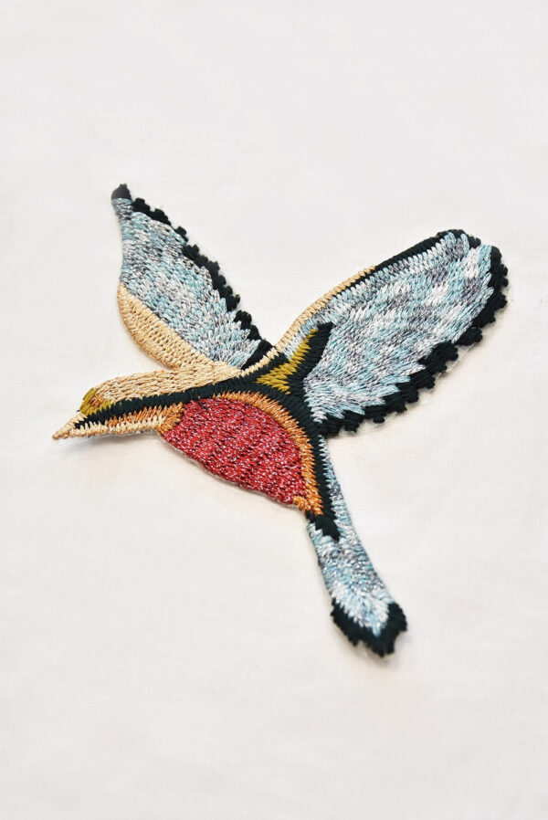 Термоаппликация птица голубая с красным и серебряной нитью (t0516) - Фото 6