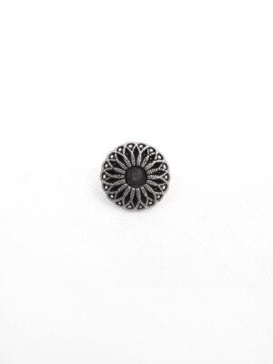 Пуговица металл на ножке круглая темное серебро цветок (p0516) - Фото 9