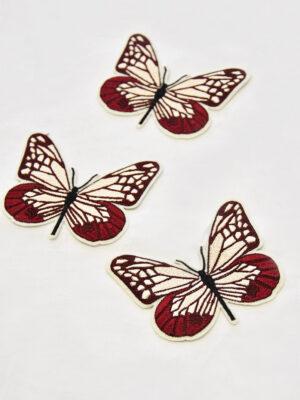 Термоаппликация бабочка в бордовых и кремовых оттенках (t0519) А-1 - Фото 15