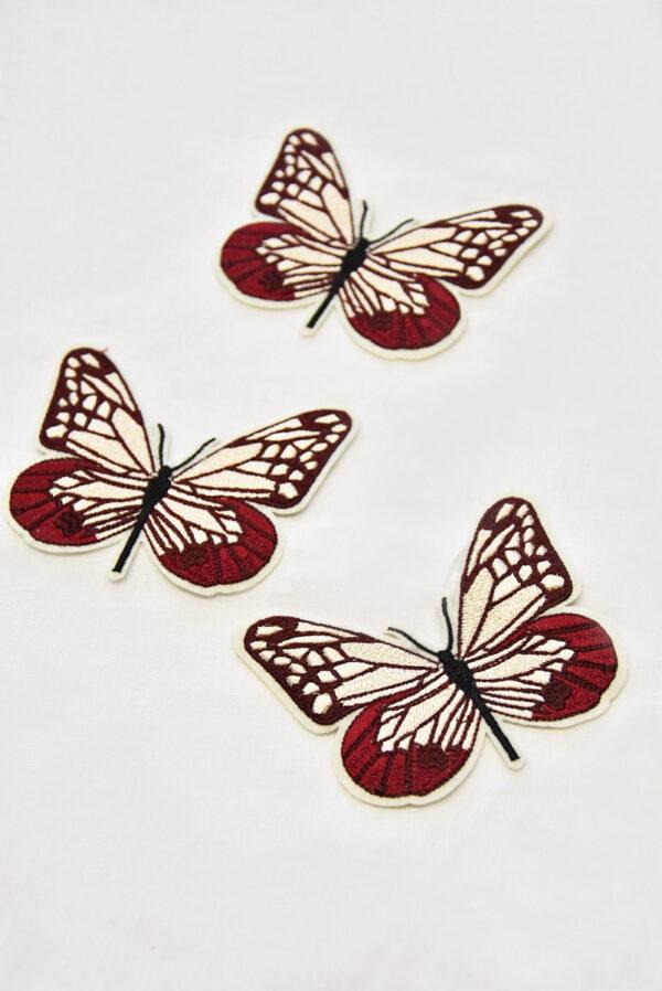 Термоаппликация бабочка в бордовых и кремовых оттенках (t0519) А-1 - Фото 7