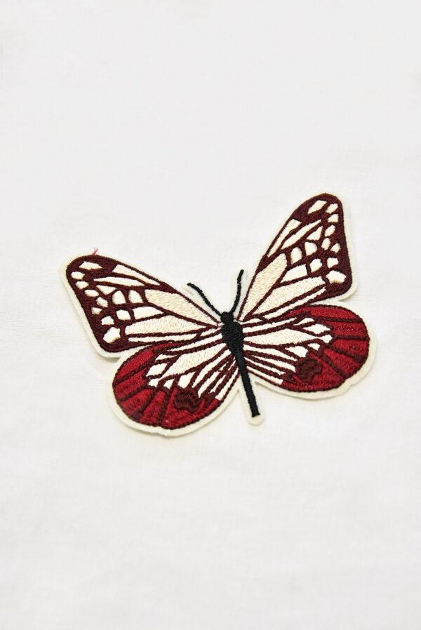 Термоаппликация бабочка в бордовых и кремовых оттенках (t0519) А-1 - Фото 6