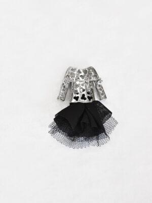 Брошь металл эмаль стразы черный жакет и фатиновая юбка (t0520) - Фото 15