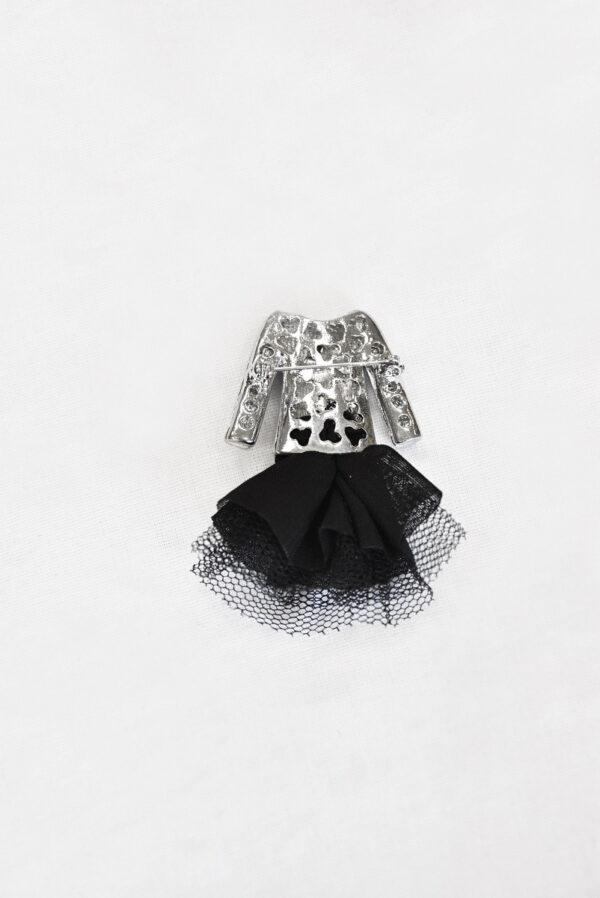 Брошь металл эмаль стразы черный жакет и фатиновая юбка (t0520) - Фото 7