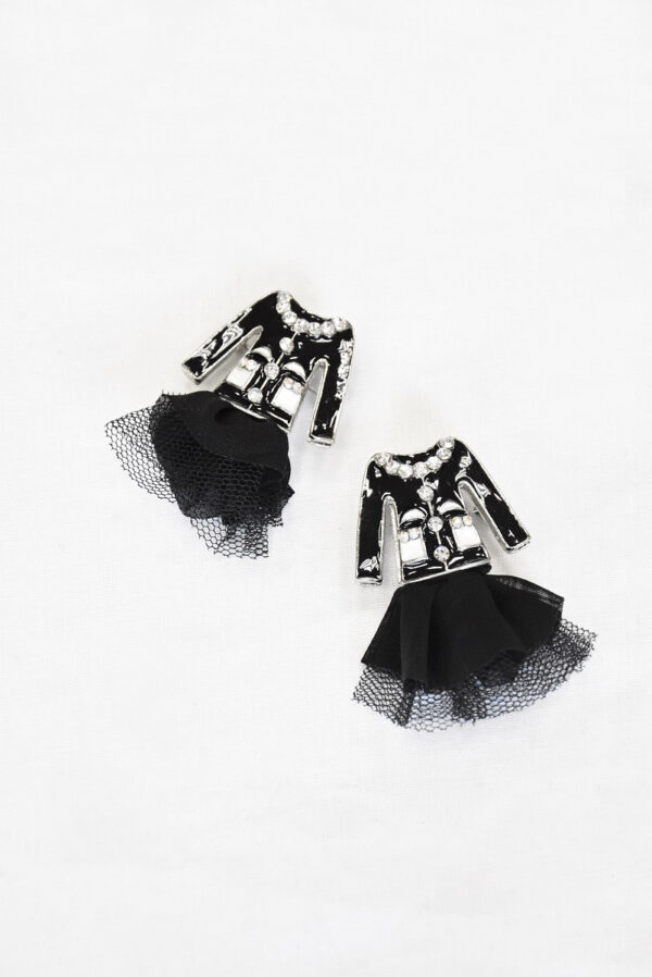 Брошь металл эмаль стразы черный жакет и фатиновая юбка (t0520) - Фото 8