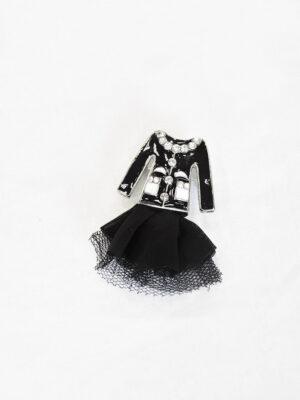 Брошь металл эмаль стразы черный жакет и фатиновая юбка (t0520) - Фото 14